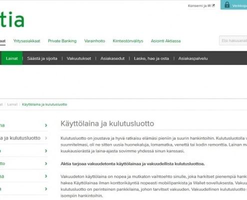 Aktia kulutusluotto ja käyttölaina