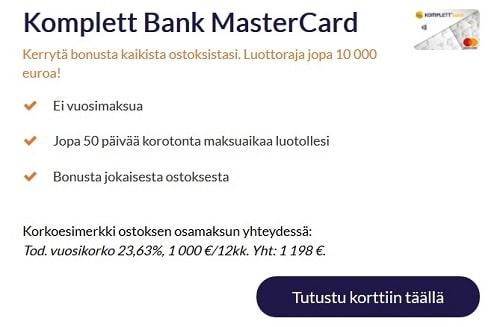 Komplett Bank luottokortti on MasterCard, jossa ei ole avaus- tai vuosimaksua