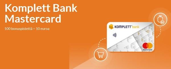 Komplett Bank Mastercard kerryttää sinulle myös bonuspisteitä ja 100 bonuspinnaa tarkoittaa 10 euroa käyttörahaa!
