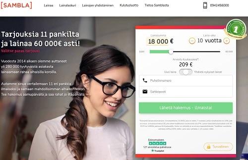 Sambla laina välityspalvelu hakee tarjouksia yli 11 pankilta